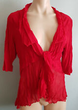 BNWT Womens Sz 16 Eversun DK Red Crinkle Tie Front Short Sleeve Cardi Style Top