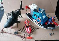 RARE Chap Mei Rescue Squad Boat, Canoe Figures, Shark & Accessories