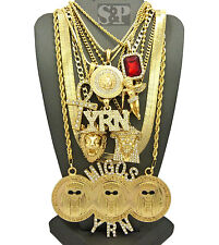 Hip Hop MIGOSYRN,MEDUSA,JESUS,ANKH,ANGEL,RUBY,HERRINGBONE CHAIN 9 Necklace Set