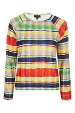 BNWT Topshop Pleated Stripe Long Sleeve Multi Colourful Top, Size 8 RRP £34