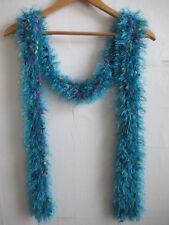 Womens Fuzzy Blue Scarf Eyelash Knit Multi-color Long