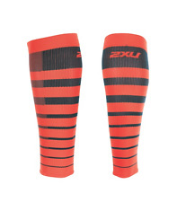 2Xu - Unisex Striped Run Calf Comp Sleeve (Ua4205b-Ttm/Sbo) Size M - 50% Off