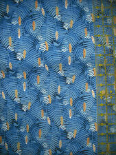 Fabric Visions Garden Quilt Fabric - Blue Fern Leaves w/Yellow Floral Center