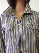 Guess Jeans Usa Stripped Jacket Zipper Sz M Designer Fashion