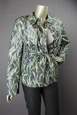 $3295 New RENA LANGE Gray Green White Grass Art Print Belt Jacket Coat 14 44