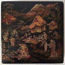 ANTIQUE JAPANESE BLACK LACQUER PAPIER-MACHE BOX, 19TH C.