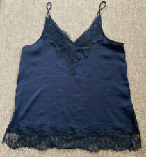 Black Cami Top with Lace Detail, Topshop, Size UK 10