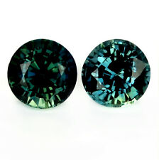 Certified 4.17mm Round Natural Sapphire 0.85ct Teal Madagascar Matching Pair