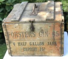 More details for forsters gin rare original 4 half gallon jars gin wood wooden case box crate