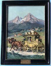 Impressionismus Ölgemälde Postkutsche Berchtesgaden Watzmann Signatur?~1900
