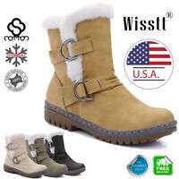 Women's Snow Ankle Boots Winter Leather Fur Lined Warm Waterproof Mid Calf Shoes