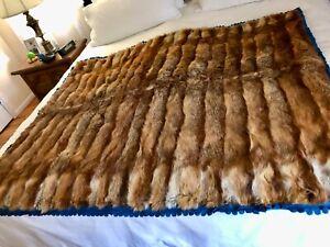 """Vintage Genuine Red Fox Fur Blanket/Throw, 52-1/2"""" x 65"""""""