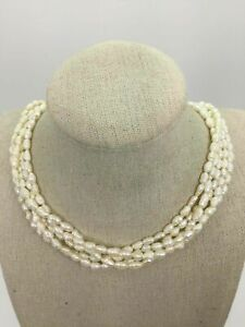14K Yellow Gold Keshi Pearl Multi Strand Necklace (54.0g)