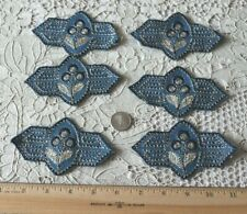 "6 French Antique Hand Embroidered Indigo Silk Floral Felt Appliqués~4.5"" X 2.5"""