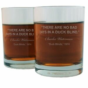 Charles Waterman Famous Quote Etched Whiskey Glass Set
