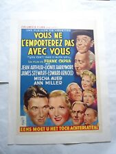 FRANK CAPRA/YOU CAN' T TAKE IT WITH YOU /U6F/belgian poster on linen