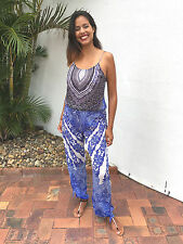 "Embellished Playsuit+Jumpsuit, Romper 12-14 Wide Leg,31""inseam Blue Silk Crepe"