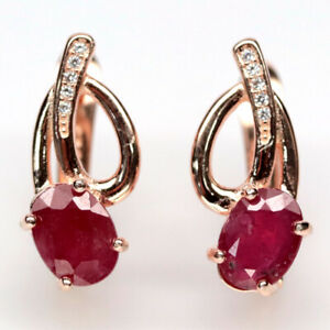 NATURAL 6 X 8 mm. RED RUBY & WHITE CZ 925 STERLING SILVER EARRINGS
