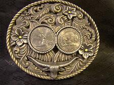 New 2005 Nickel Long Horn Steer Floral Heads & Tails All Metal Belt Buckle