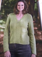 KNITTING PATTERN Ladies V Neck Jumper Sweater Rowan Long Sleeved PATTERN