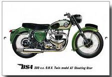BSA 500CC O.H.V. TWIN MODEL A7 SHOOTING STAR METAL SIGN.MOTORCYCLES.