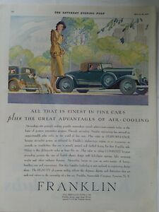 1931 blue Franklin airplane type car woman and terrier dog vintage color ad