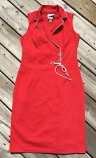 VTG Joseph Ribkoff 80's Red Nautical Cotton Sleeveless Retro Sheath Dress Size 8