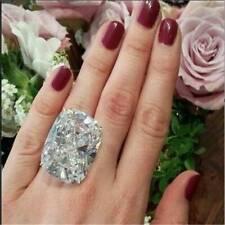 #7 Luxury 925 Silver White Topaz Band Ring Women Proposal Wedding Jewelry Gift