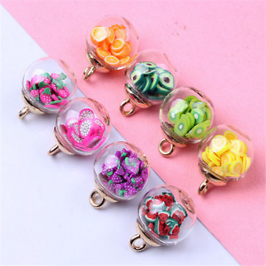 10pcs Charms Fruit Round Glass ball pendant earring Jewelry Accessorie 16mm