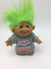 "DAM 1986 Bats Over Baseball Troll 4.5"" Green Hair & Gray T Shirt"