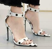 Women Sexy White Polka Dot Ankle Strap Pointed Toe Stilettos High Heels Sandals