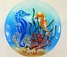Sea Horses in Coral Art Glass plate hand painted Sea Life Home decor