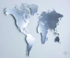 M Weltkarte aus verzinktem Stahl - Wanddeko (Wandbild, Metall, Magnettafel)