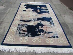 Vintage Hand Made Art Deco Chinese Oriental Navy Blue Wool Carpet 285x180cm