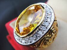 size 13.25 Deluxe YELLOW MEN Gold Plated 24K RING Gemstone CZ Solitaire Sapphire