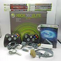 Microsoft Xbox 360 Elite 120 GB Console Bundle 2 Controllers Cables 8 Games Lot