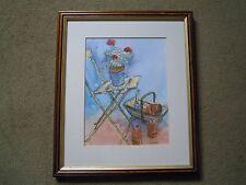 Pauline Huxtable Watercolour. Garden Still Life Study with Gardeners Trug Basket