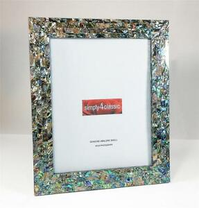 Genuine Abalone Paua Shell  Mother of Pearl Picture Frame 8X10 Photo Handmade