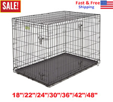 "18""-48"" Midwest iCrate Dog Crate Kennel Folding Metal Pet Cage 2-Door Black"