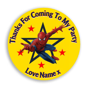 24 Personalised Stickers For Party/Sweet Cone Bags Spiderman