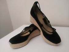Ann Taylor Elsa Black Suede Leather Espadrille Wedge Heel Shoes Size 6.5 B
