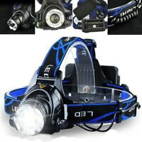 Tactical 90000LM Rechargeable T6 LED Headlamp Zoomable Hiking Headlight Torch