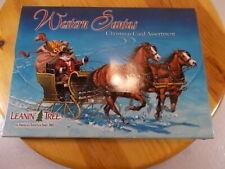 Leanin Tree Christmas Greeting Cards 20 Card Box Set Western Santa's 10 Designs