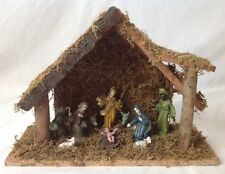 Vintage Christmas Nativity Set Plastic Figures Wooden Creche Manger Stable MCM