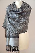 Pashmina Schal Tuch Stola Paisley gewebt 100% Viskose Schwarz Grau ca.190x70cm