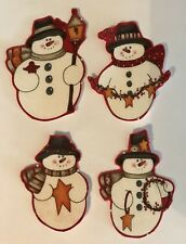 Little Country Christmas Snowmen- Holiday Iron On fabric appliques