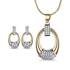 Dangle Ring 18K Gold Filled Swarovski Crystal Earrings Necklace Lady Jewelry-SET