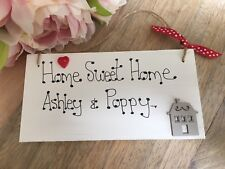 Personalised First Home Sweet Home sign heart plaque gift new home family