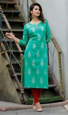 India Pakistani Kurta Kurti 100% Cotton Straight Printed Casual Top Tunic