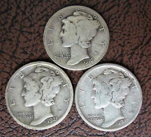 Mercury Dimes: a Complete Set! Includes 1916 D, 1921, and 1921 D